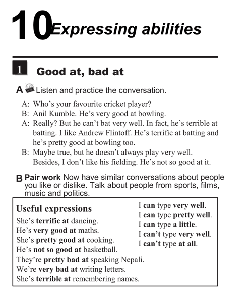 English conversations unit 10 - 1A - Expressing abilities - good at, bad at