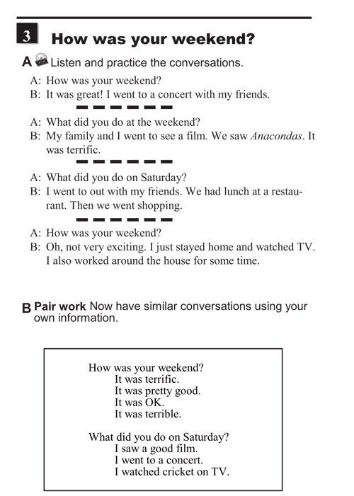 English conversations unit 11 - 3A - Relating  past events -  how was your weekend