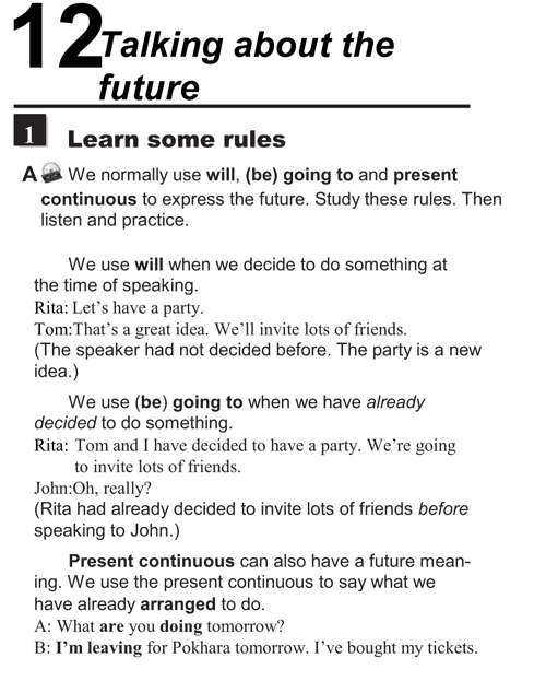 English conversations unit 12 - 1A - Talking about the future - learn some rules