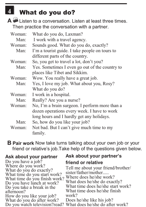 English conversations unit 2 - 4A - Talking about jobs and routines - what do you do