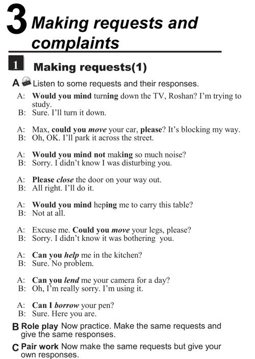English conversations unit 3 - 1A - Making requests and complaints - making requests (1)