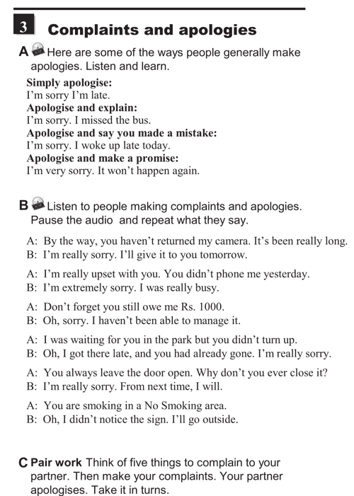English conversations unit 3 - 3A - Making requests and  complaints - complaints and apologies