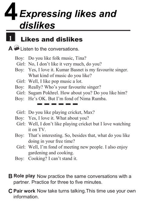 English conversations unit 4 - 1A - Expressing likes and dislikes - likes and dislikes