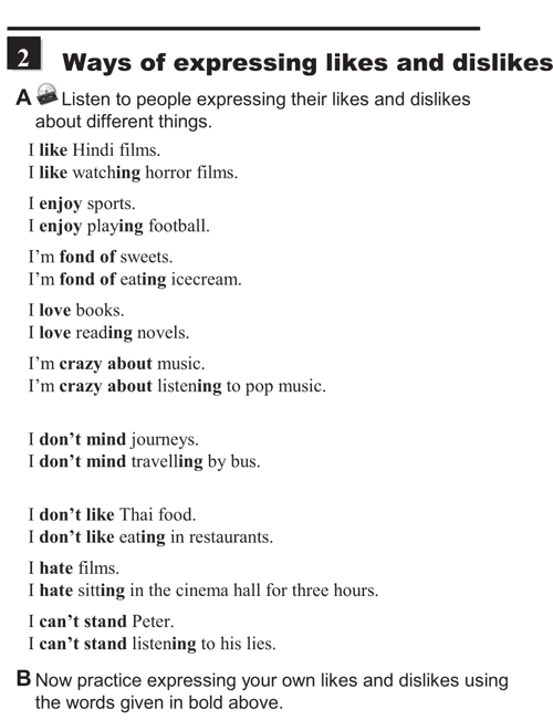 English conversations unit 4 - 2A - Expressing likes and dislikes - ways of expressing likes and dislikes