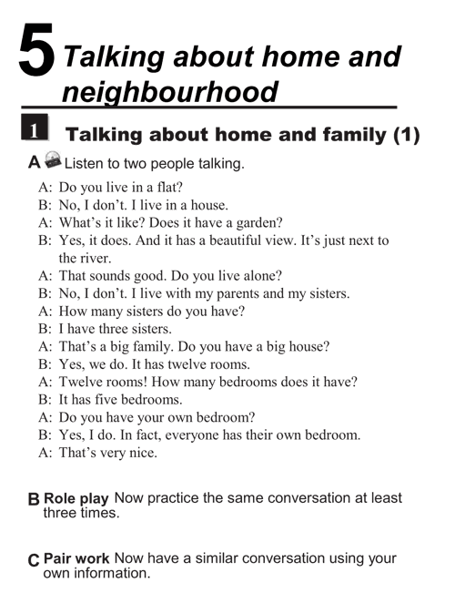 English conversations unit 5 - 1A - Talking about home and neighbourhood - talking about home and family (1)