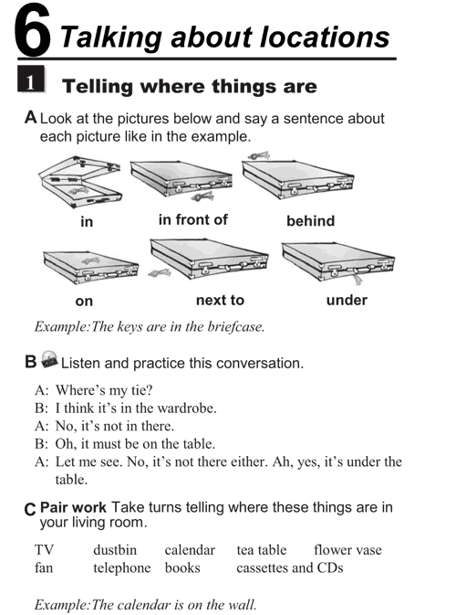 English conversations unit 6 - 1B - Talking about locations - telling where things are