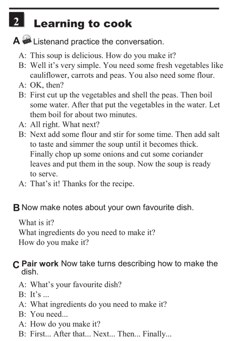 English conversations unit 8 - 2A - Giving instructions - learning to cook