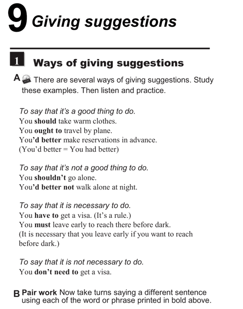 English conversations unit 9 - 1A - Giving suggestions - ways of giving suggestions