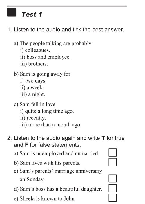 English listening skill test - Test  type 1 - test 1