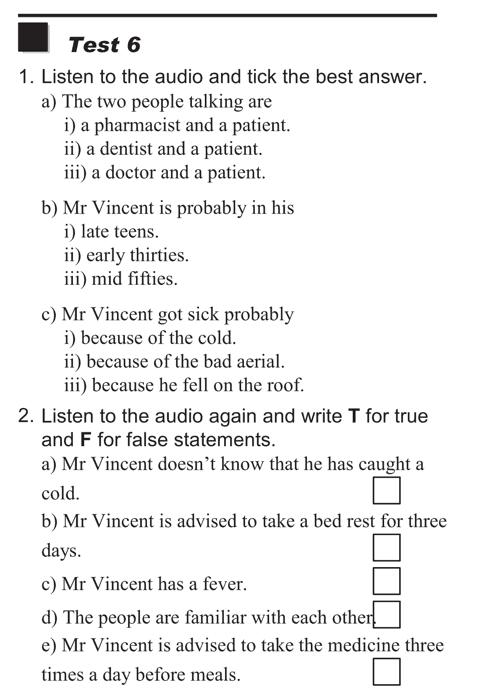 English listening skill test - Test  type 1 - test 6