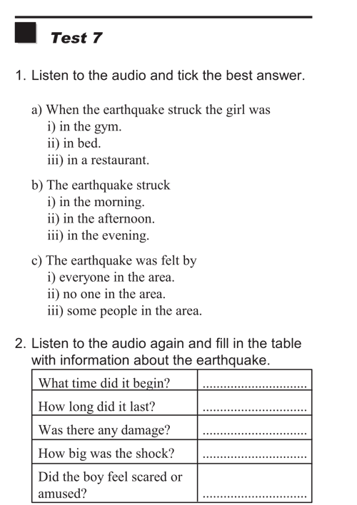 English listening skill test - Test  type 1 - test 7
