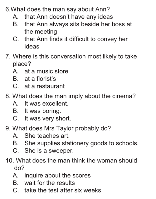 English listening skill test - Test  type 2 - section A a2