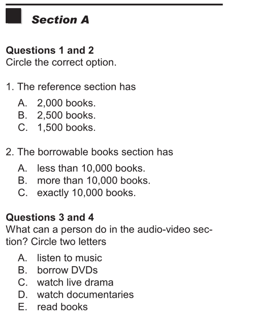 English listening skill test - Test  type 3 - section A b1
