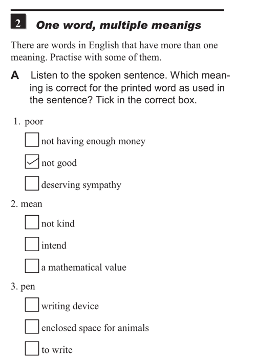 English listening skill test - Unit 1 - 2A - Practice with meanings - one word, multiple meanings a