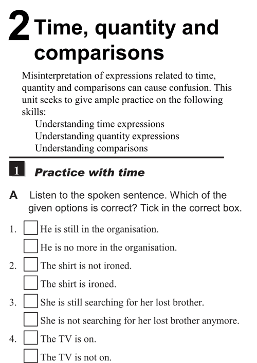 English listening skill test - Unit 2 - 1 A - Time, quantity and comparison - practice with time b1