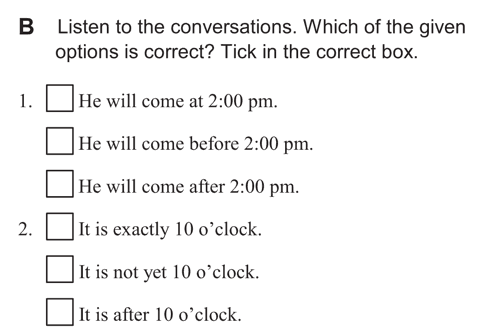 English listening skill test - Unit 2 - 1 B - Time, quantity and comparison - practice with time c1