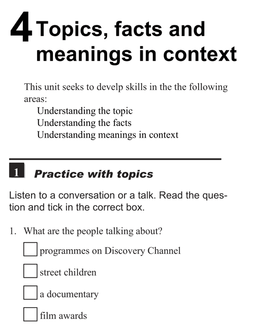 English listening skill test - Unit 4 - 1 - Topics, facts and meanings in context - practice with topics h1