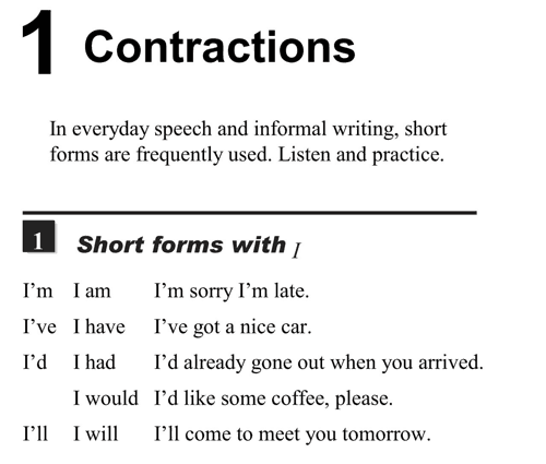 English pronunciation - unit 1 - 1 - Contractions - short forms with I