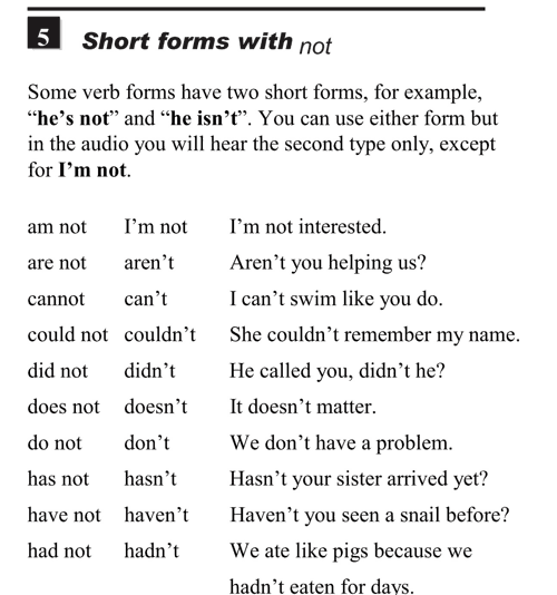 English pronunciation - unit 1 - 5 - Contractions - short forms with not - d