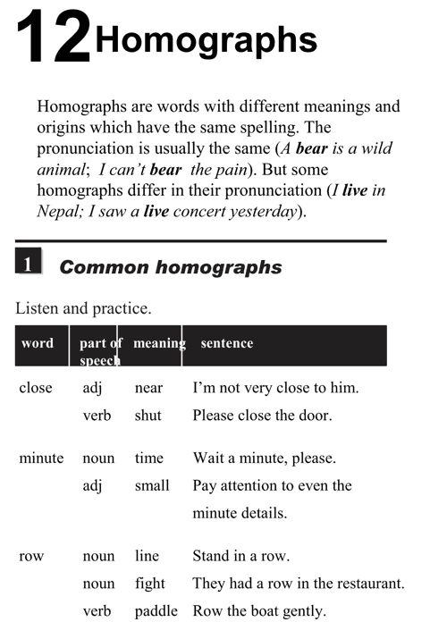 English pronunciation - unit 12 - 1 - Homographs - common homographs h1
