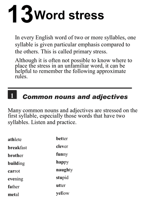 English pronunciation - unit 13 - 1 - Word stress - common nouns and adjectives