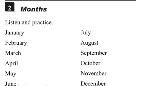 English pronunciation - unit 14 - 2 - Names of days and months - months