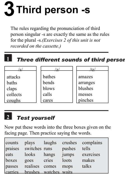 English pronunciation - unit 3 - 1 - Third person-s - three different sounds of third person s
