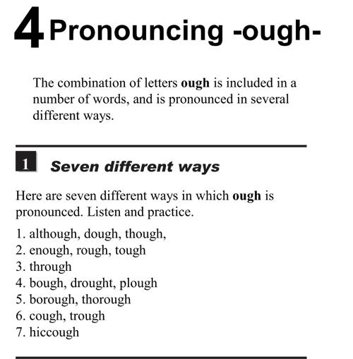English pronunciation - unit 4 - 1 - Pronouncing -ough-  seven different ways