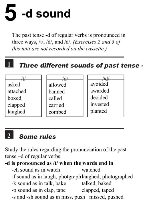 English pronunciation - unit 5 - 1 - D sound - three different sounds of past tense d