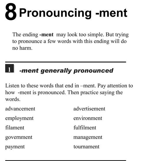 English pronunciation - unit 8 - 1 - Pronouncing - ment - ment generally pronounced