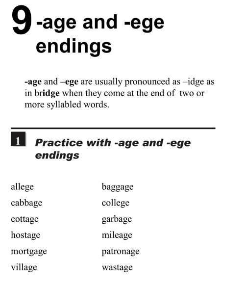English pronunciation - unit 9 - 1 - Age and ege endings  - practice with -age and -ege endings